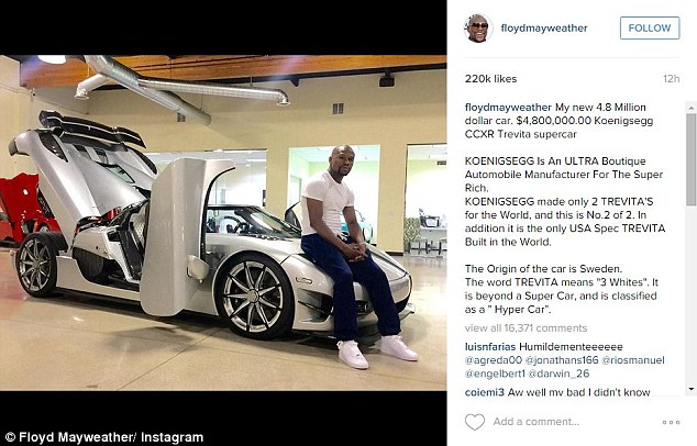 The American boxer couldn't help bragging about his latest acquisition on Instagram (above and below)