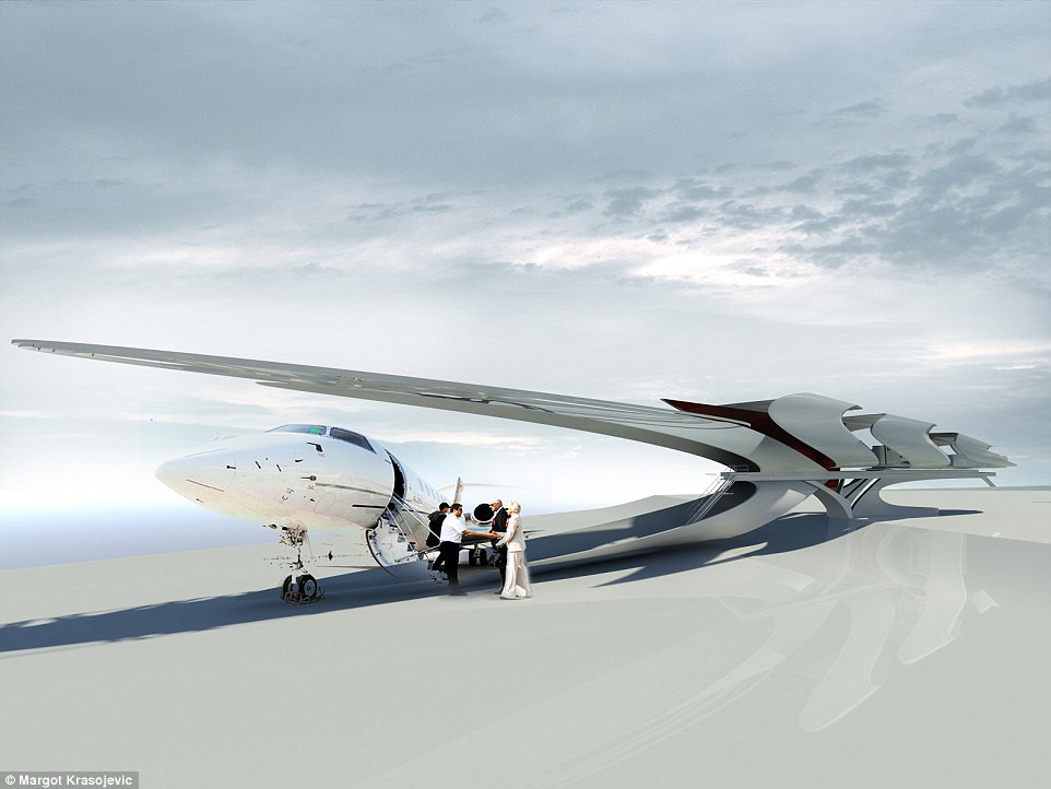 Architect Margot Krasojevic has released new renderings for a pop-up hotel to be placed beside a parked jet
