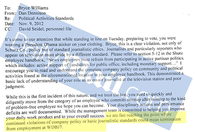 Damning: The letter which warned him that his conduct, by wearing an Obama badge as he reported on the presidential election, put him on the verge of termination