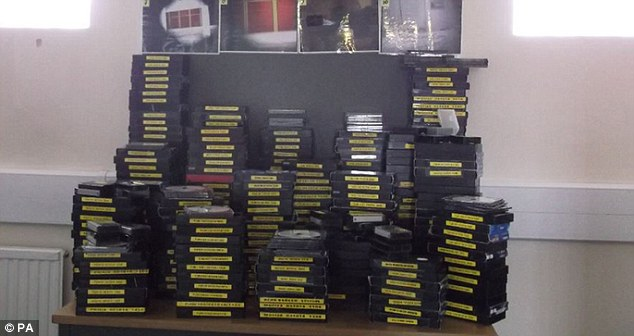 Cache:After his arrest police found a cache of more than 300 VHS tapes containing 2,500 hours of secret footage