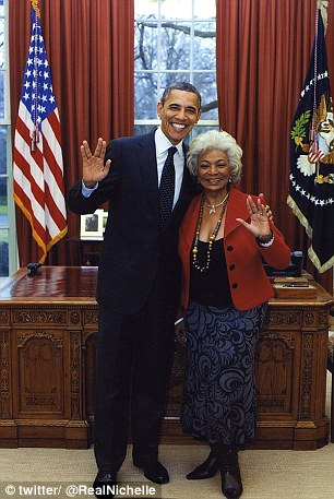 Star trekkie: Obama gives Spock's V-sign with Nichelle Nichols, who was Lt Uhura