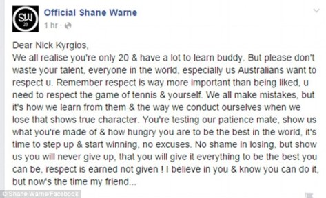 In the open letter on his Facebook page the Cricket great said Kyrgios had 'a lot to learn'