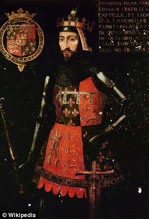 MyHeritage.com claims Trump and Hillary Clinton  are direct descendants of the 14th century 1st Duke of Lancaster, John of Gaunt (pictured)