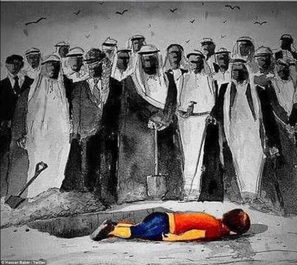 This image made a political point about how few Syrian refugees have been accepted by Middle Eastern nations. It shows men wearing traditional Arab dress standing over Aylan's body. The caption reads: 'Refugees welcomed by: Saudi: 0, Kuwait: 0, Qatar: 0, Emirates: 0, Bahrain: 0 #FreeSyria #SyriaCrisis'