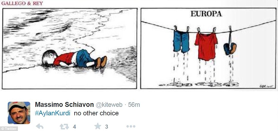 Twitter user Massimo Schiavon share an image suggesting Europe cares more about Aylan Kurdi's clothes than whether or not he lost his life