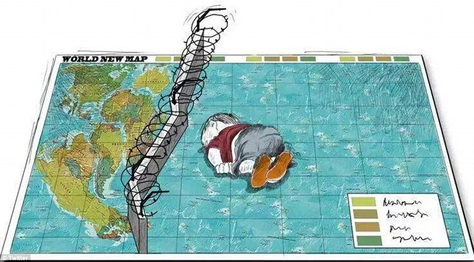 No entry: This poignant image shows how physical and metaphorical walls that block many young migrant from entering Europe effectively leave children like Aylan at great risk