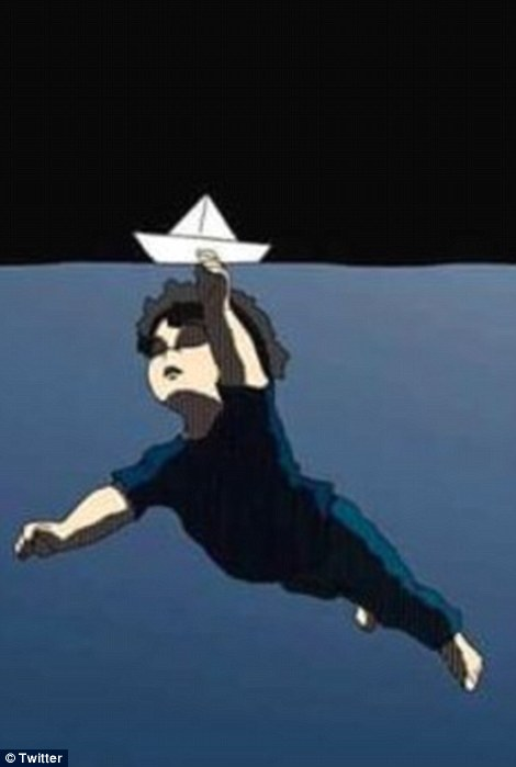 This  artwork depicts Aylan Kurdi drowning in the Mediterranean Sea while holding up a paper boat