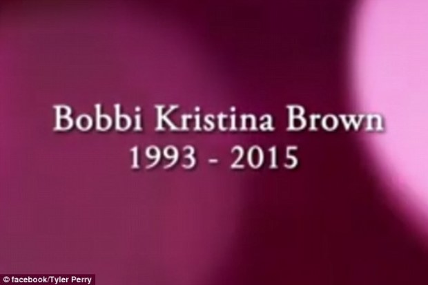 Young but loved: Moments later, the words, 'Bobbi Kristina Brown 1993 - 2015 - flash up on the screen.