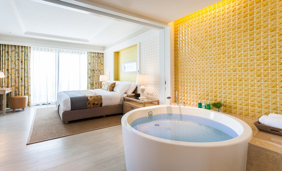 Creature comforts: An in-room hot tub inside the tranquil Amari hotel