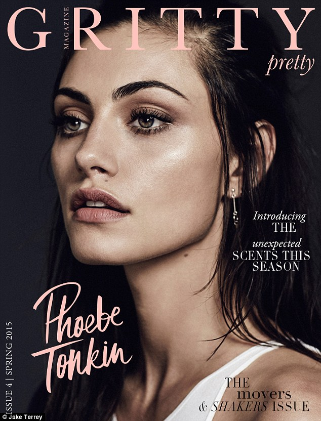 Cover girl: The Vampire Diaries actress Phoebe Tonkin, 26, graced the front of Gritty Pretty's spring 2015 edition