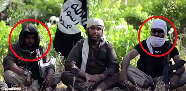 Reyaad Khan, 21, (left) and Ruhul Amin,  (right) appeared together in an ISIS recruitment video last year aimed at luring jihadists to Syria and Iraq