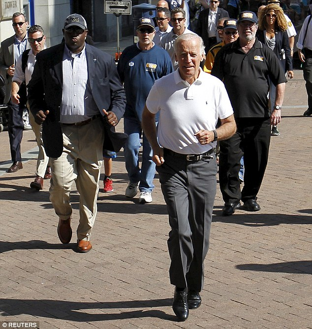 'I am definitely going to run part of this parade,' Biden said and then made good his promise