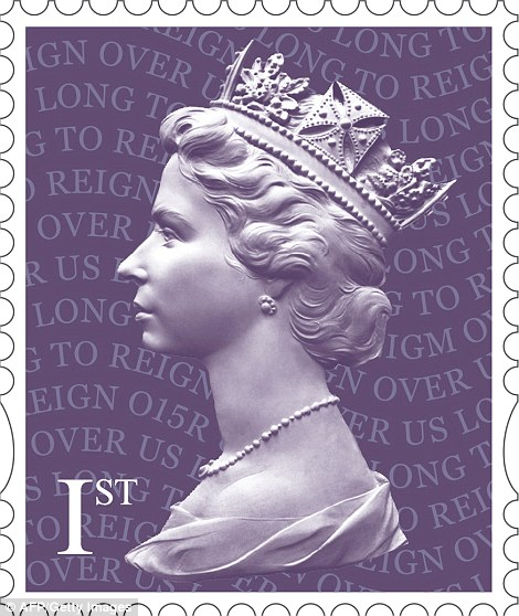 Change in colour: The red 1st class stamp has been turned purple