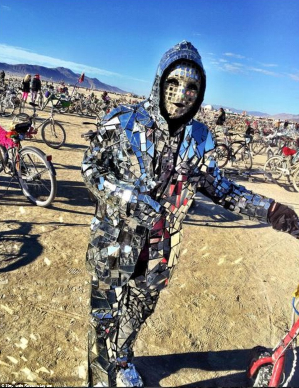 On-point: The reveler appeared to have taken the 2015 Burning Man theme, Carnival of Mirrors, extremely seriously