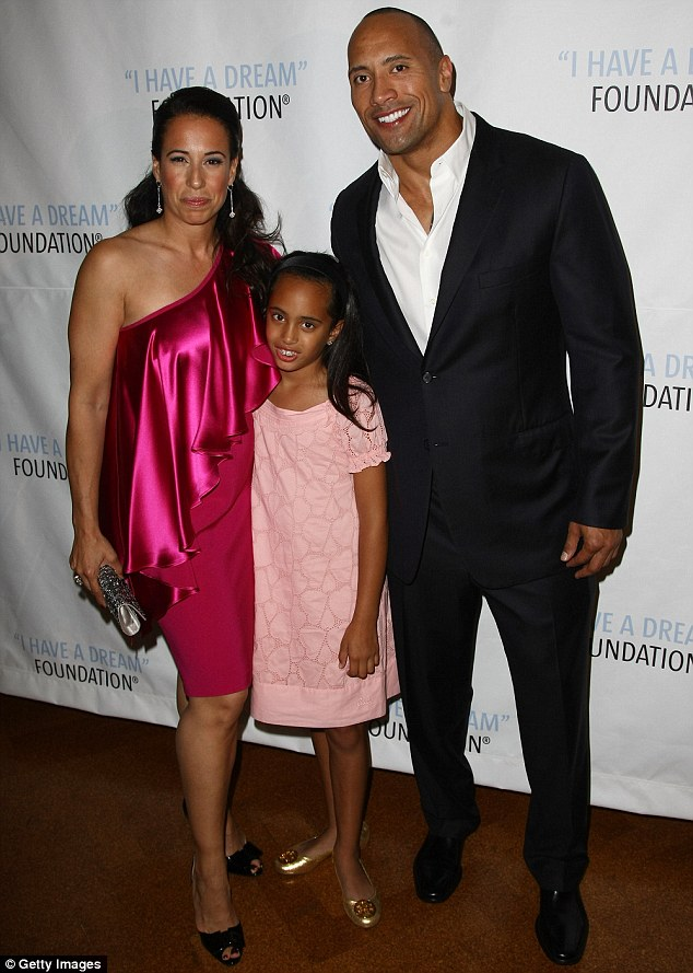 First family: The San Andreas and Fast & Furious star was previously married to his college sweetheart Dany Garcia and their daughter Simone was born in 2001. The couple, pictured with Simone in 2009, divorced in 2007