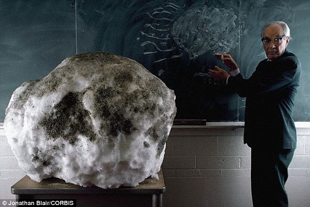 """Os cometas são compostos de gases congelados misturados com a poeira, o que lhes deu o apelido de """"bola de neve suja"""". Eles conter pistas sobre a formação do nosso sistema solar. Aqui, o Dr. Fred Whipple usa uma bola de neve de 500 libras coberta com sujeira em sua sala de aula Harvard para demonstrar a anatomia do núcleo de um cometa"""