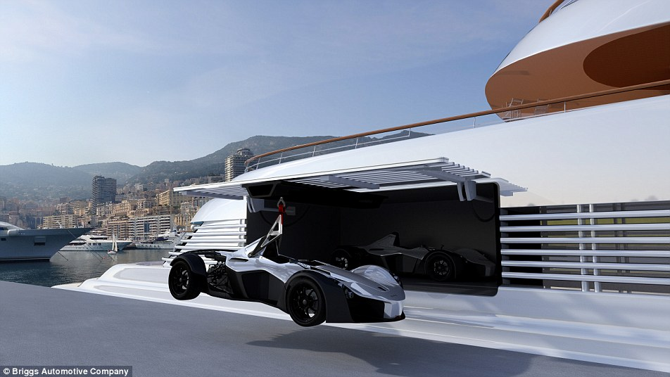 This rendering shows the Marine Edition Mono, built to order at £500,000, being loaded onto a superyacht
