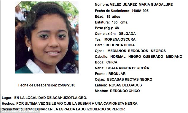 Vanished: Maria Guadalupe Velez Juarez, 15, is also on the database which is criticised by locals who say only the rare cases that are formally investigated by the authorities actually appear on it