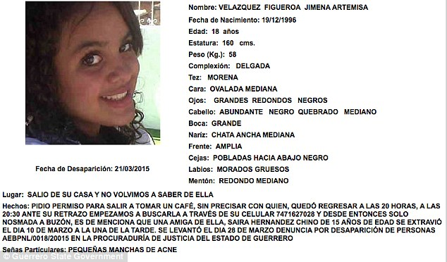 Victim: One of the girls on Guerrero state's online database for the state's disappearance victims is Jimena Artemisa Velazquez Figueroa, 18