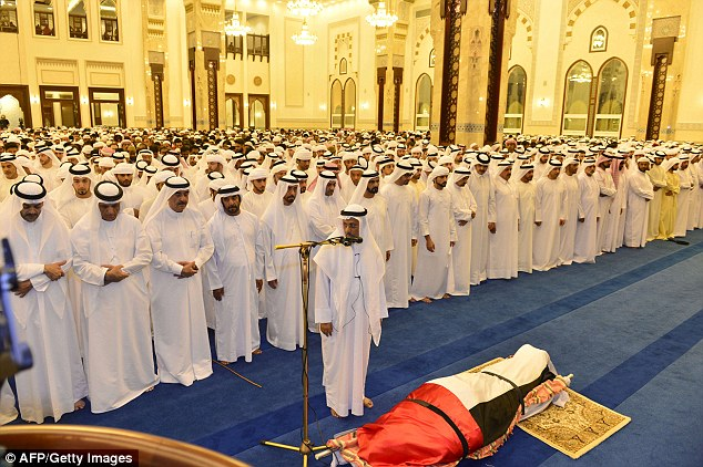 Hundreds of relatives and officials gathered inside the Zabeel mosque to pay their final respects
