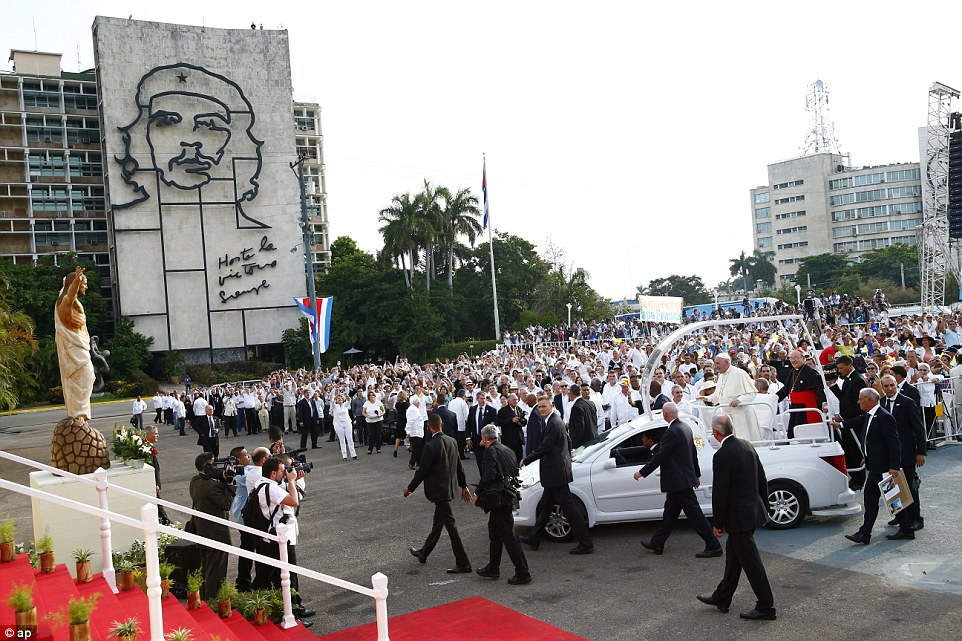 Pope Francis appeared to take aim at Castro during his first Sunday Mass in Cuba's Revolution Square as he told the crowd that 'service is never ideological'