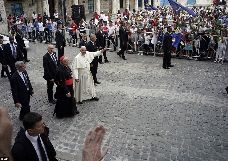 Pope Francis arrives to the San Cristobal Cathedral in Havana, Cuba, in order to lead afternoon prayers earlier today