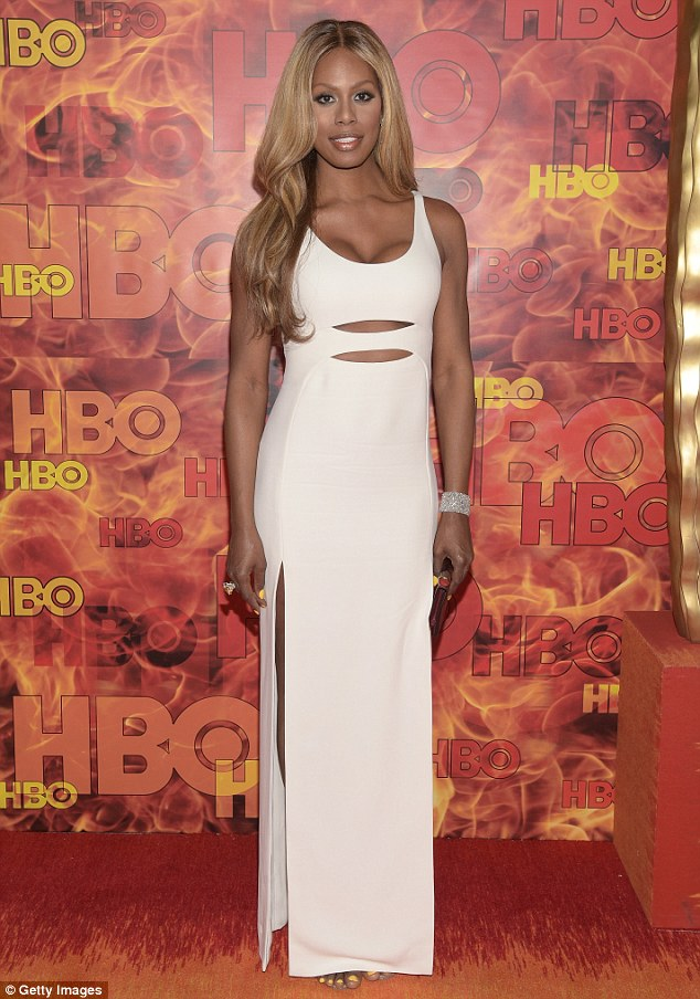 All white on the night: Laverne Cox looked sensational as she slipped into her second dress for the Emmys in Los Angeles on Sunday night - this time for the HBO After Party
