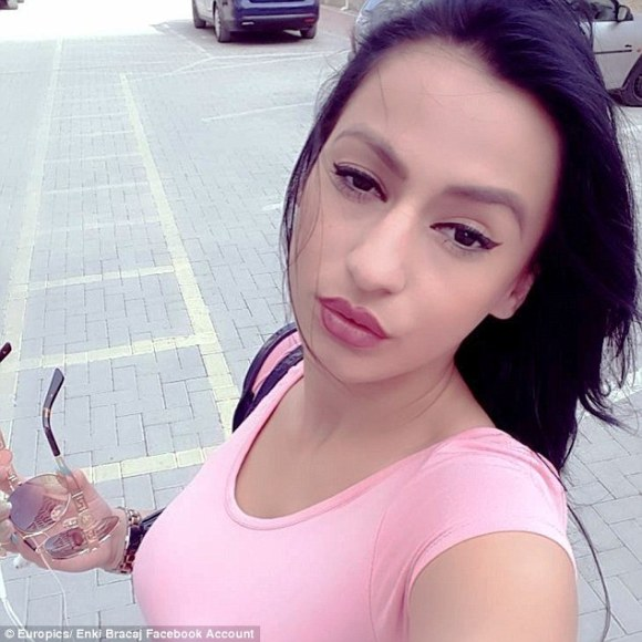 Bracaj (pictured), who studies public relations at the local university, said she had simply 'found a way to put myself ahead' in a competitive industry
