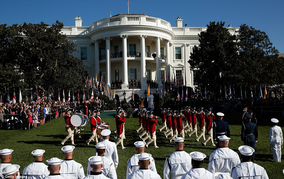 The U.S. Army's Old Guard Fife and Drum Corps performed for the president and the pope on the South Lawn before their speeches