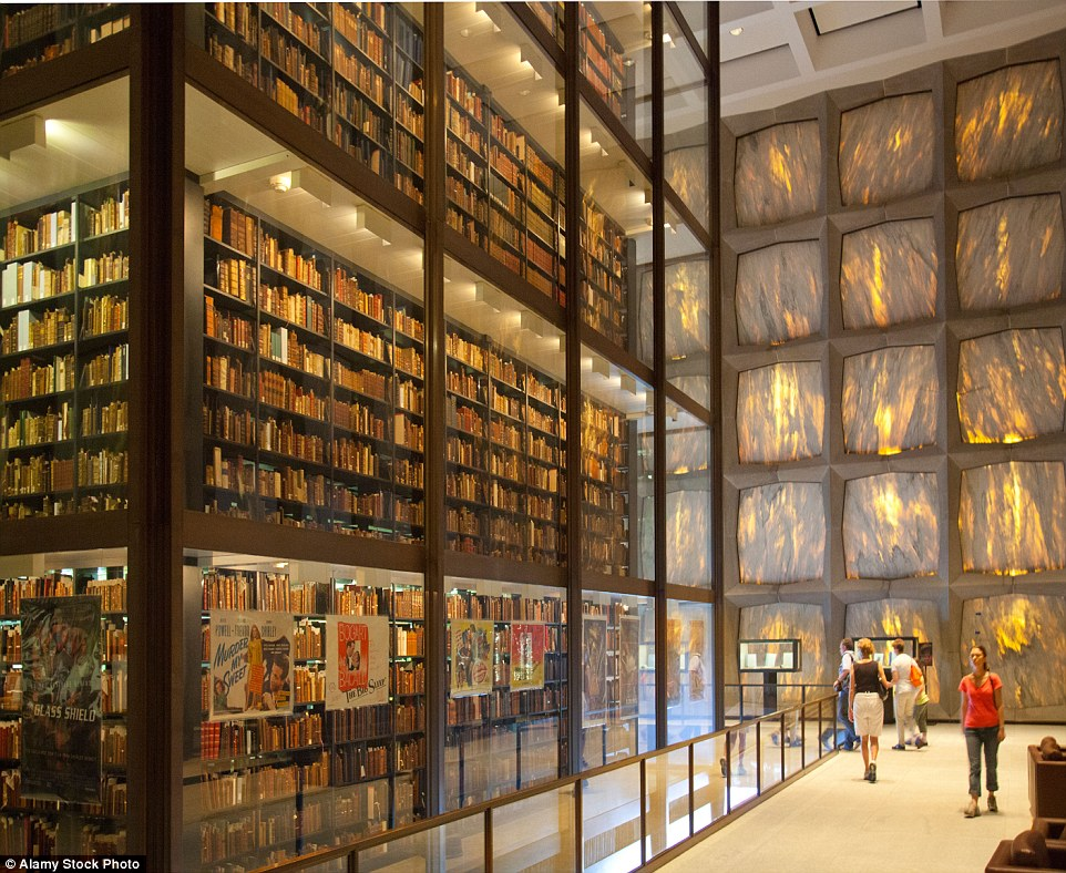 The Beinecke Rare Book & Manuscript Library contains the principal rare books and literary manuscripts of Yale University, housed within a striking glass network of shelves