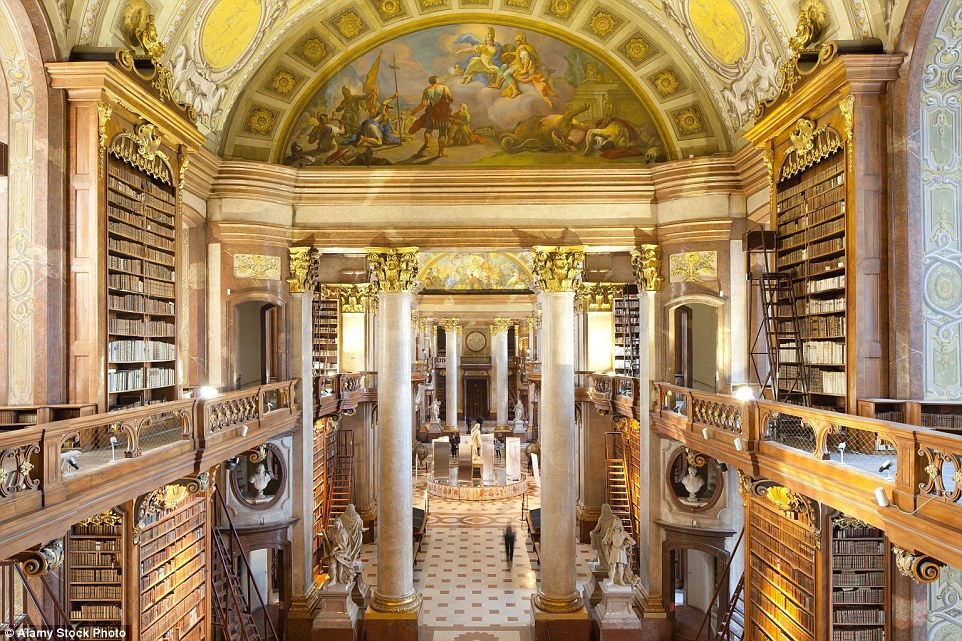 The Austrian National Library is a Unesco-protected site and it is easy to see why, with its captivating gold painted marble pillars