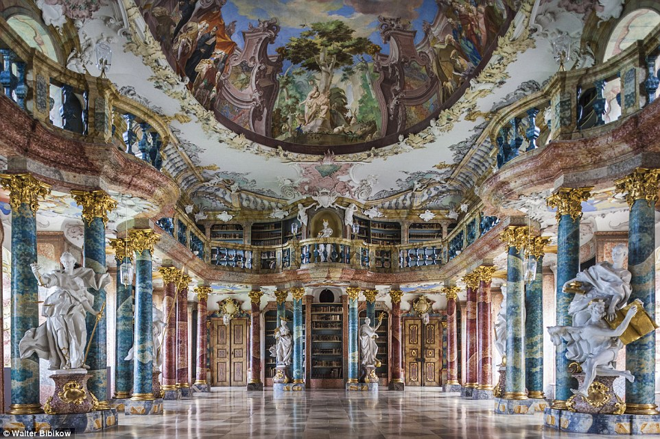 Taking the prize for one of the fanciest libraries around is Wiblingen Abbey's halls. This 18th century monastery is built in rococo style featuring gold accents and statutes