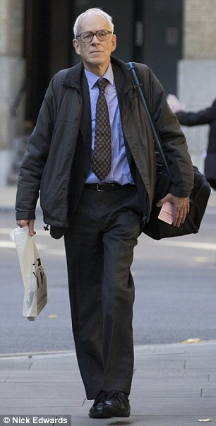 Richard Alston, 70, pictured outside Southwark Crown Court today where he was sentenced to 21 months in prison for molesting an 11-year-old boy