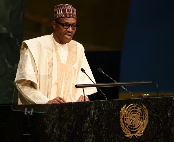 President of Nigeria Muhammadu Buhari addresses the 70th session of the UN General Assembly on September 28, 2015