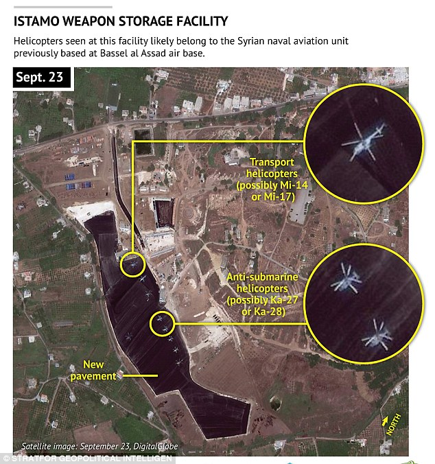 This image shows the Istamo weapons storage facility near the Syrian town of Latakia, where large concrete surfaces have been put in place or are under construction and the assembly of a potential fuel depot is underway, according to Stratfor,a geopolitical intelligence and advisory firm in Austin, Texas