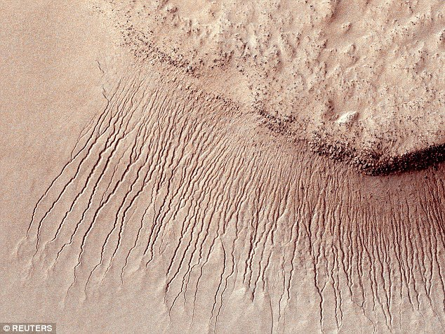 Last week, news that Mars may contain liquid water reignited the belief that alien life could soon be found. Pictured are marks on Mars, which lengthen and darken as the seasons change. Scientists say these are first evidence of their kind ever found on another planet and they're the first step in confirming life can exist there