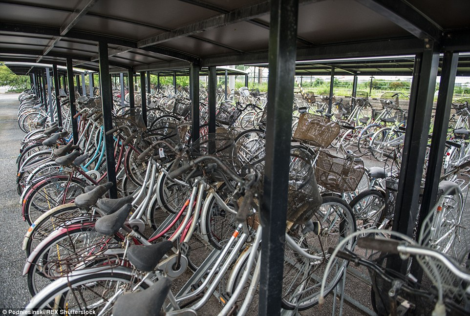 Dozens of abandoned bikes lie chained to bike rails. They are among the network of towns and villages near the power plant that were populated prior to the disaster