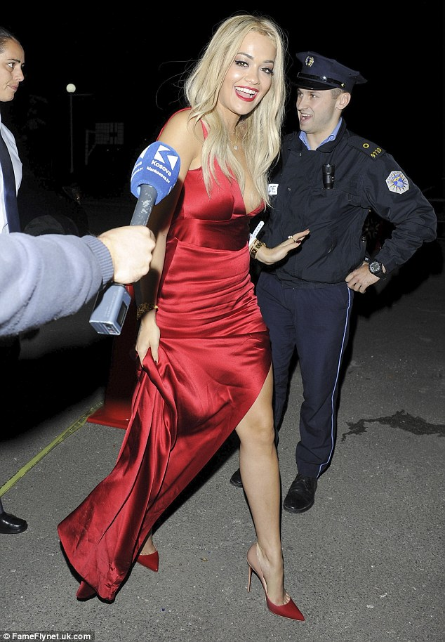 Rita Ora Is Super Sexy In Scarlet At Wedding In Her Native