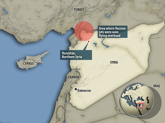 It has been claimed by eyewitnesses that there was a large explosion in Huraytan, northern Syria, not far from the Turkish border, while three fighter planes were seen overhead