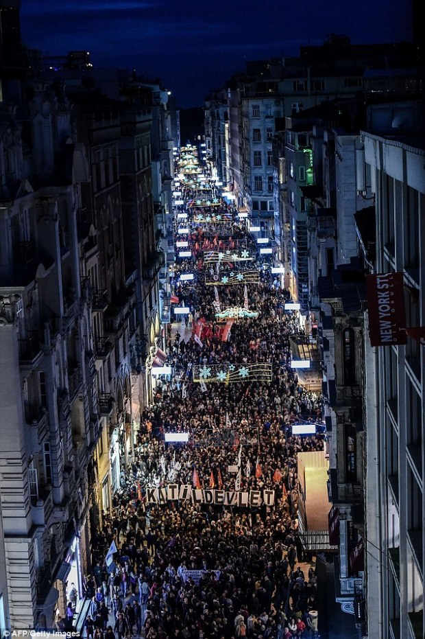 Thousands of protesters take part in a march against the deadly attack earlier in Ankara  in Istanbul