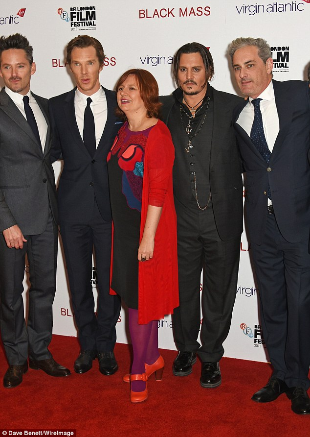 All together now: (From L-R) Director Scott Cooper, Benedict, Festival Director Clare Stewart, Johnny and producer John Lesher all struck a pose