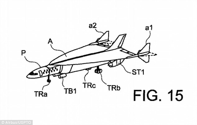 A trip from London to New York could take just one hour if Airbus has its way. Pictured is a illustration of what it could look like from a recent patent application, inlcluding rotating fins