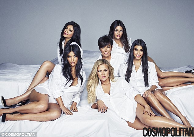 Looking good:Momager Kris Jenner, 59, Kim , Khloe and Kourtney Kardashian and their step-sisters Kendall and Kylie Jenner all smoulder in matching crisp white shirts in Cosmopolitan 's November issue