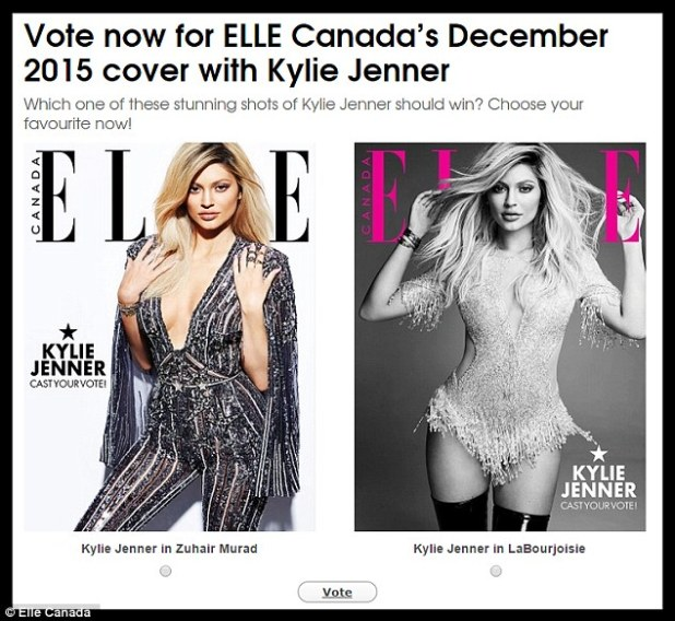 Which will win? On the Elle Canada website readers voted for their favourite cover