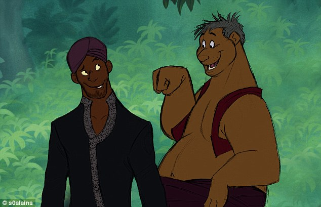 Final result: Panther Bagheera and bear Baloo are turned into a pair of Indian buddies hanging out in the woods