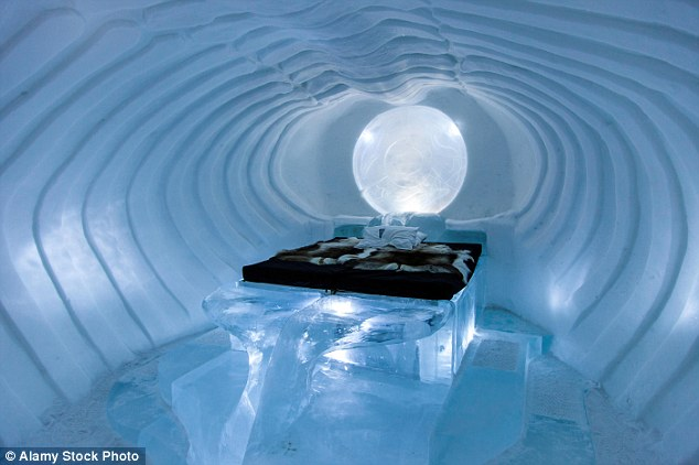 Each year, in Jukkasjarvi, Sweden, the ICEHOTEL is erected using thousands of blocks of ice from the nearby River Torne