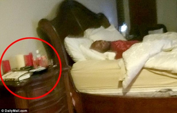 Accessories: On the bedside table, circled, are what appear to be a copy of Pimp, the autobiography of the brothel's owner, Dennis Hof; a black sex toy; candles; and baby oil.