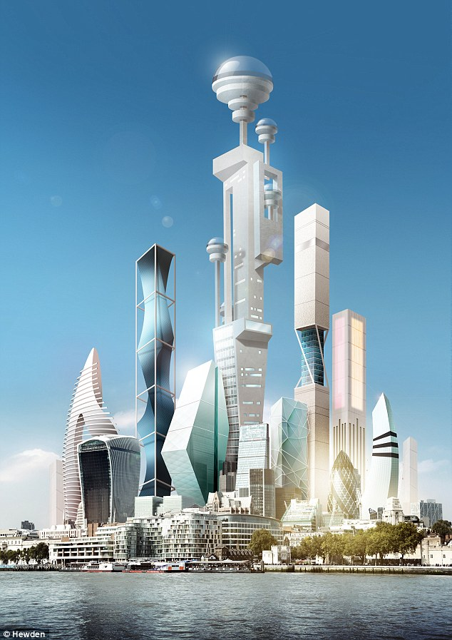 Futurologist Dr Pearson believes that by 2045, supertall buildings (illustrated) will have artificial intelligence 'personalities' and will be able to 'talk' to people. Homes and offices will collect and process data from various sensors to flag up when repairs are needed or when the heating needs to be turned on