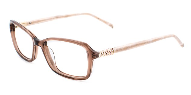 One pair of brown frames, called Aurora Marcasite, comes with metallic and bone-style arms from her Specsavers range