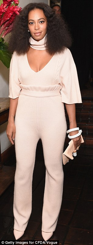 The 29-year-old started the night a picture of demure elegance in a pale salmon-hued jumpsuit at the Vogue Fashion Fund Show at Chateau Marmont, co-hosted by Kim Kardashian